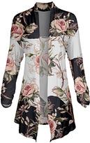 Lily Women's Open Cardigans ROS - Rose & Gray Floral Stripe Pointed-Hem Open Cardigan - Women & Plus