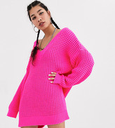 Asos Collusion COLLUSION chunky cable knit v neck jumper dress in pink