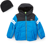 Hawke & Co Nautica Contrast Puffer Coat & Beanie - Toddler & Boys