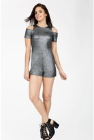 Select Fashion Fashion Womens Silver Metallic Cold Shoulder Playsuit - size 8