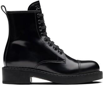 Prada Block Heel Combat Boots
