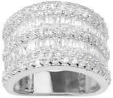 Journee Collection 2 1/6 CT. T.W. Round-cut Cubic Zirconia Wide Accent Pave Set Band in Sterling Silver