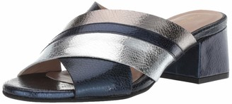 Kaanas Women's Brighton Metallic Open Toe Slide Low Block Heel Pump