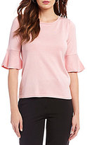 Investments Bell Sleeve Jewel Neck Top
