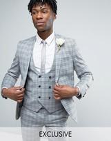 Noose & Monkey Super Skinny Wedding Suit Jacket In Check