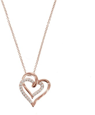 La Lumiere Rose Gold-Plated Sterling Silver Swarovski Zirconia A Couple Open Heart Adjustable Pendant Necklace 45.72cm + 5.08cm Extender