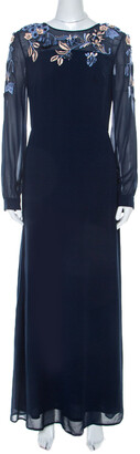 Matthew Williamson Navy Blue Silk Embellished Floral Applique Maxi Dress M
