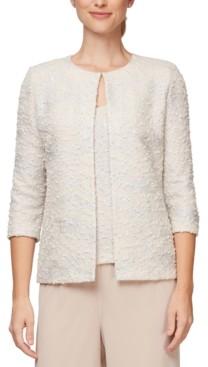 Alex Evenings Petite Jacquard-Knit Jacket and Top