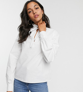 Fashion Union Tall high neck blouse in white