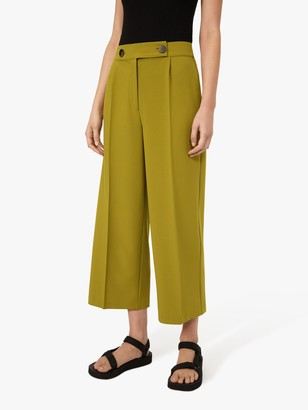 Warehouse Wide Cropped Button Trousers