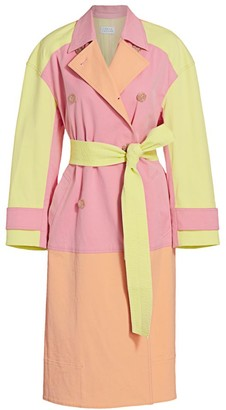 Tanya Taylor Myers Sunwashed Colorblock Trench Coat