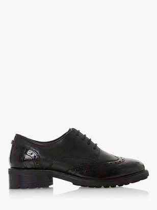 Dune Fion Wide Fit Leather Brogues, Black