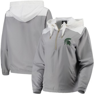 Unbranded Women's Gray/White Michigan State Spartans Colorblock Anorak Quarter-Zip Pullover Jacket