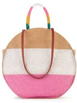 Time and Tru Time & Tru Striped Straw Circle Tote Bag with Inner Slip Pocket