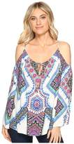 Hale Bob Road Tripping Rayon Woven Cold Shoulder Top
