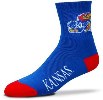 For Bare Feet Adult Kansas Jayhawks Team Color Quarter-Crew Socks