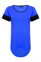 Select Fashion Fashion Womens Blue Plain Drop Hem Pu Sleeve Tee - size 6