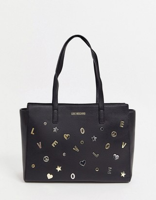 Love Moschino charm stud faux leather tote bag-Black