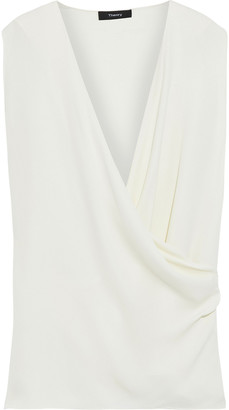 Theory Wrap-effect Draped Silk Crepe De Chine Top
