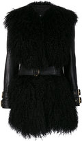 Balmain fur-trimmed leather jacket