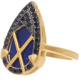Freida Rothman 14K Gold Plated Sterling Silver CZ Lapis Crisscross Shield Ring - Size 7