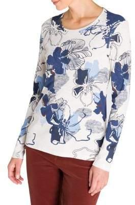Olsen Rustic Luxury Floral Long-Sleeve Cotton Tee