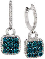 LeVian Le Vian Exotics® Blue and White Diamond Drop Earrings (1-1/4 ct. t.w.) in 14k White Gold
