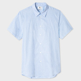 Paul Smith Men's Tailored-Fit Sky Blue 'Monkey' Print Short-Sleeve Shirt