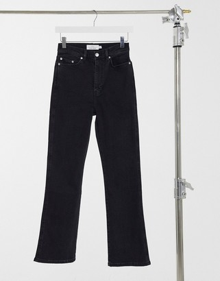 And other stories & Crush organic cotton kick flare jeans in black