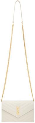 Saint Laurent Off-White Monogramme Chain Wallet Bag