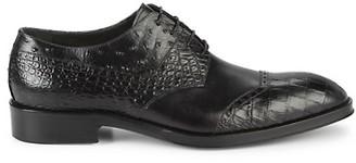 Jo Ghost Croc Snakeskin-Embossed Leather Derbys
