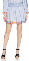 Tory Burch Grace Embroidered Oxford Stripe Mini Skirt