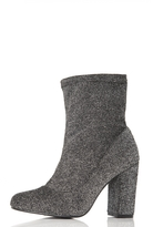 Quiz Grey Textured Block Heel Ankle Boots