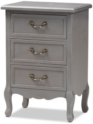 Baxton Studio Bruno Country Wood 3-Drawer Nightstand, Cottage Gray