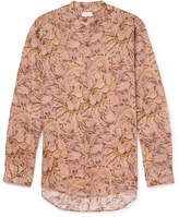 Dries Van Noten Claver Grandad-Collar Printed Ramie Shirt