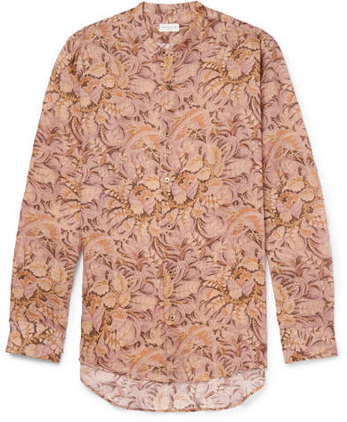 Dries Van Noten Claver Grandad-Collar Printed Ramie Shirt