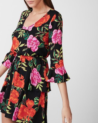 Express Floral Tiered Fit And Flare Dress