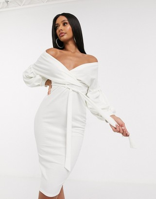 Femme Luxe off shoulder flutter sleeve pencil dress in white