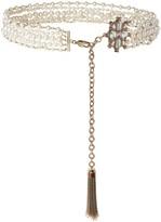St. John Pearl & Swarovski Crystal Tassel Chain Belt
