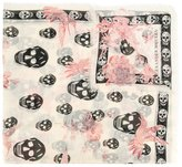 Alexander McQueen skull and hummingbird print scarf - women - Silk/Modal - One Size
