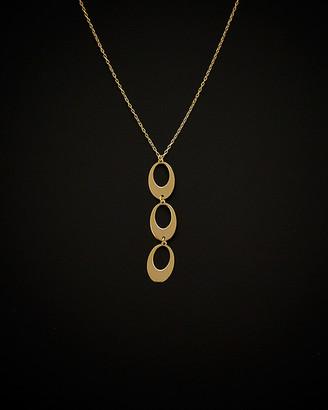 Italian Gold 14K Triple Oval Drop Adjustable Necklace