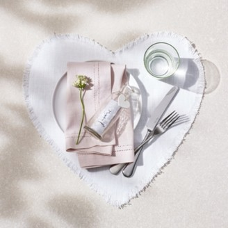 The White Company Linen Heart Placemats Set of 2, White, One Size