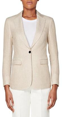 SUISTUDIO Cameron Silk & Linen Suit Jacket