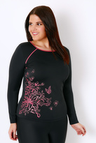 Yours Clothing Black & Pink Floral Print Long Sleeve Swim Top
