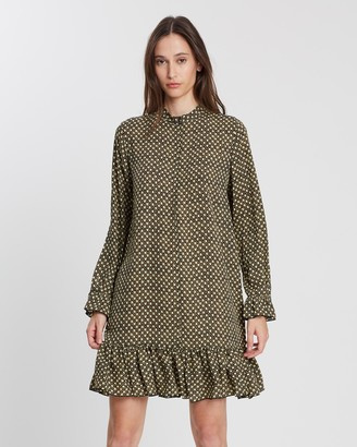Maison Scotch Printed Dress With Peplum Hem