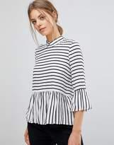 Esprit Stripe Ruffle Hem Shirt With Button Back