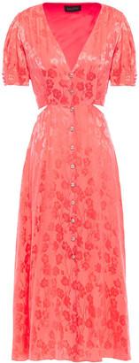 Saloni Lea Cutout Silk-satin Floral-jacquard Midi Dress