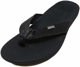 Reef Women's Sandals Ortho-Spring | Arch Support Flip Flops for Women BLACK/BLACK GLITTER 7 M US