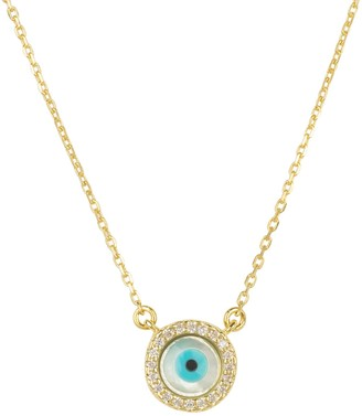 Mother of Pearl Evil Eye Necklace Cz Gold
