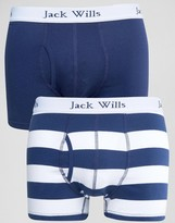 Jack Wills Chetwood 2 Pack Trunks Deep Blue Stripe